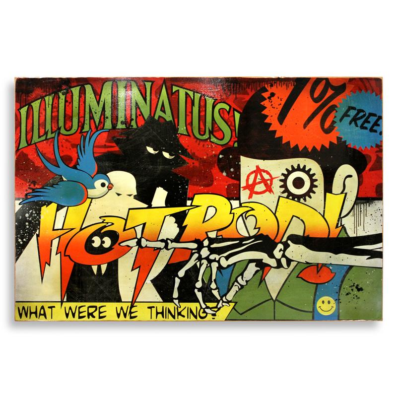 """Denial Illuminatus  Spray Paint on Wood 72"""" x 48""""  SOLD"""