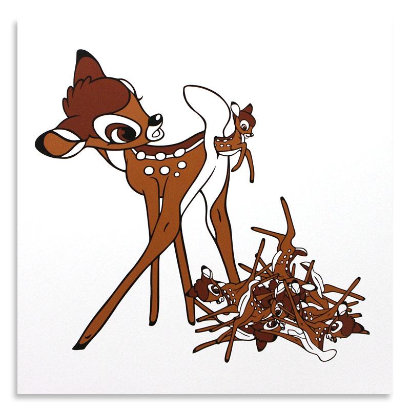 "Ben Frost Self-Regenerating Bambi  Aerosol Stencil on Board 48"" x 48""  SOLD"
