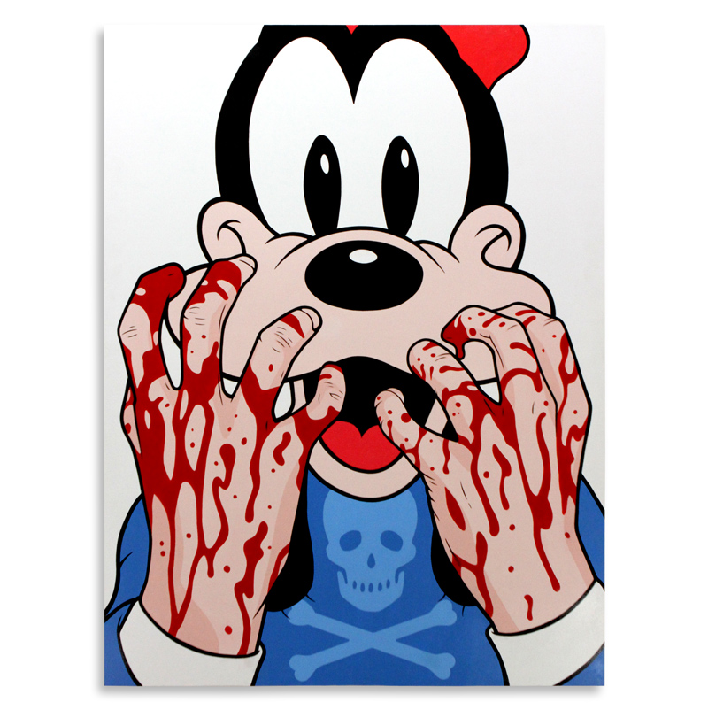 "Ben Frost Bleeding Hands Goofy  Acrylic on Board 48"" x 63""  SOLD"