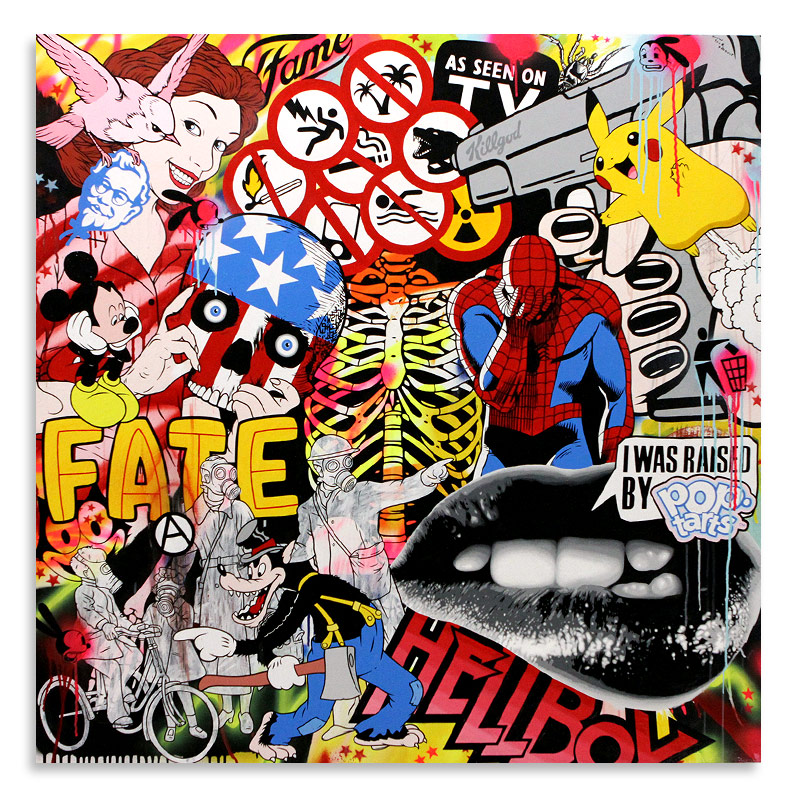 """Ben Frost Know Your Product  Acrylic & Aerosol on Board 48"""" x 48""""  SOLD"""