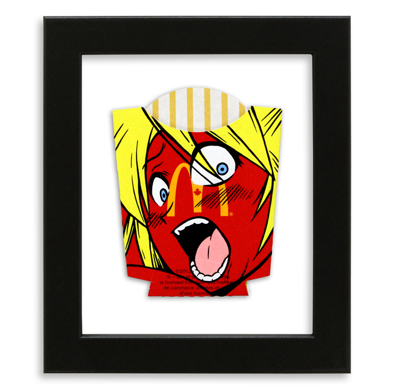 """Ben Frost I'm Lovin' It  Acrylic on McDonald's Fries Packaging 6"""" x 7"""" $250  SOLD"""