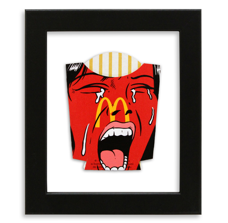 """Ben Frost Eat In Or Take Away?  Acrylic on McDonald's Fries Packaging 6"""" x 7"""" $250  SOLD"""