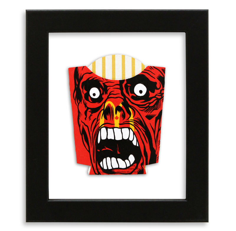"""Ben Frost McNightmare  Acrylic on McDonald's Fries Packaging 6"""" x 7"""" $250  SOLD"""