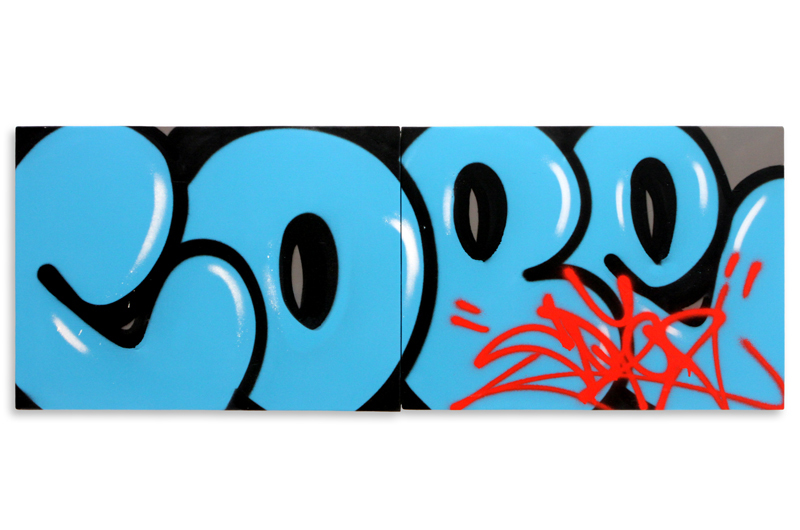 """Detroit Series 2  Aerosol on Wood 48"""" x 18"""" (Diptych) $1,000 Also Available on  1xRUN"""
