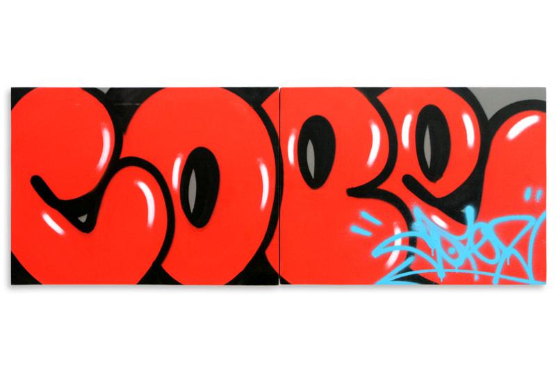 "Detroit Series 1  Aerosol on Wood 48"" x 18"" (Diptych) $1,000  SOLD"