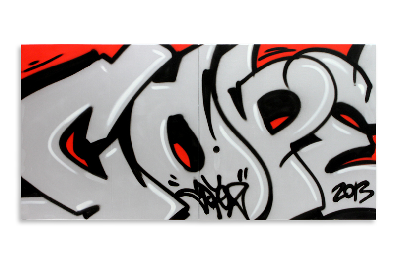 """Detroit Series 5  Aerosol on Wood 48"""" x 24"""" (Diptych) $1,500 Also Available on  1xRUN"""
