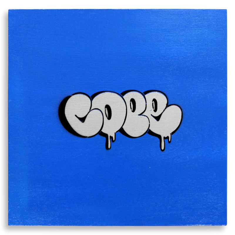 "Detroit Stencil Series 8  Aerosol on Wood 12"" x 12"" $250  SOLD"