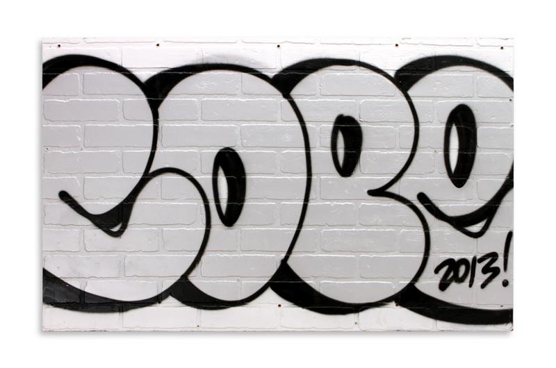 "Silver & Black Detroit Throwie  Aerosol on Found Wood Panel 48"" x 30"" $850   SOLD"