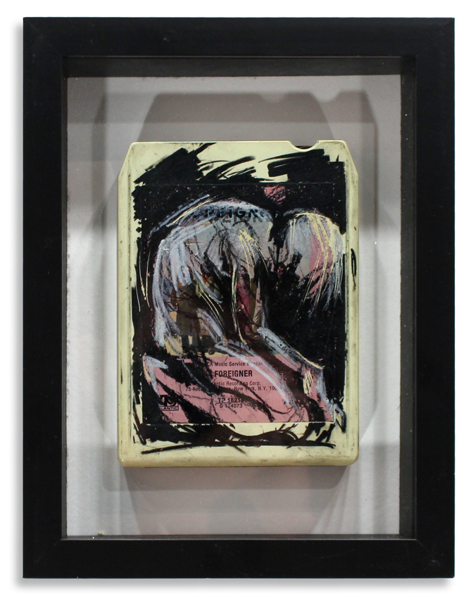 "Foreigner 'Foreigner'  Mixed Media on 8-Track 7"" x 9""  Framed in Shadowbox SOLD"