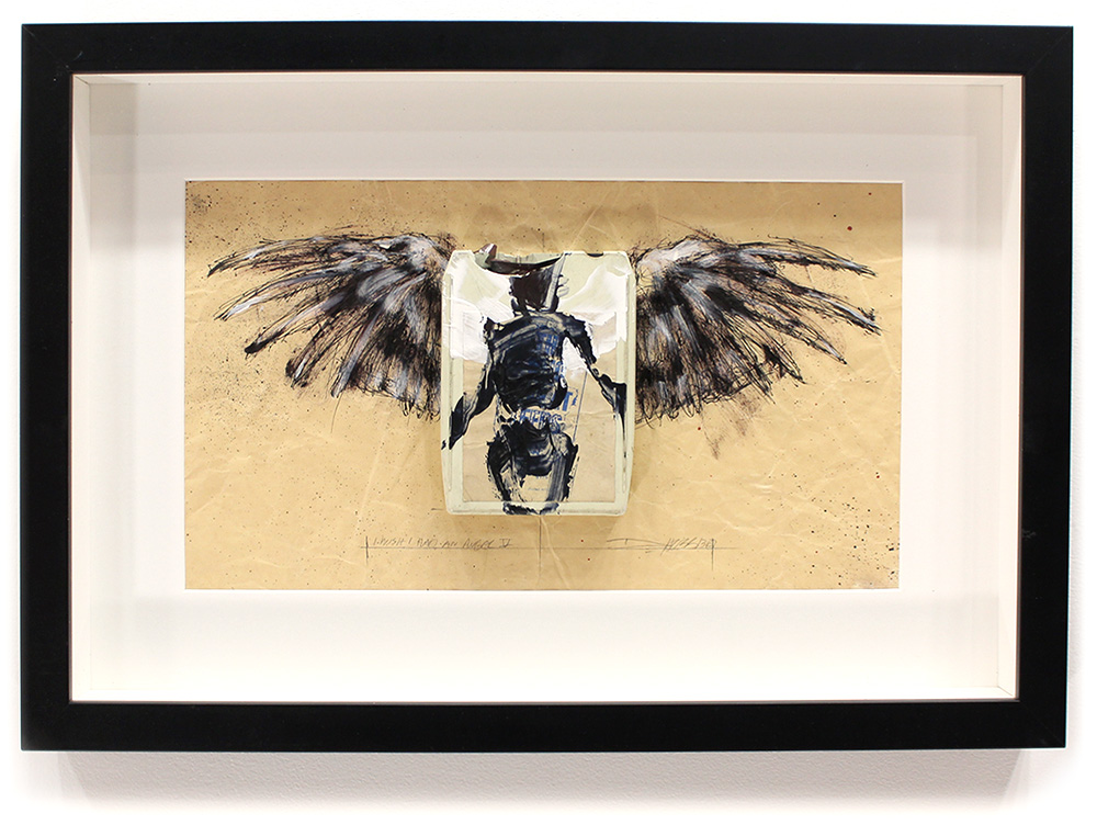 "I Wish I had an Angel V  8-Track, Archival Paper Framed in Shadow Box 22"" x 14.5"" Framed in Shadowbox  SOLD"