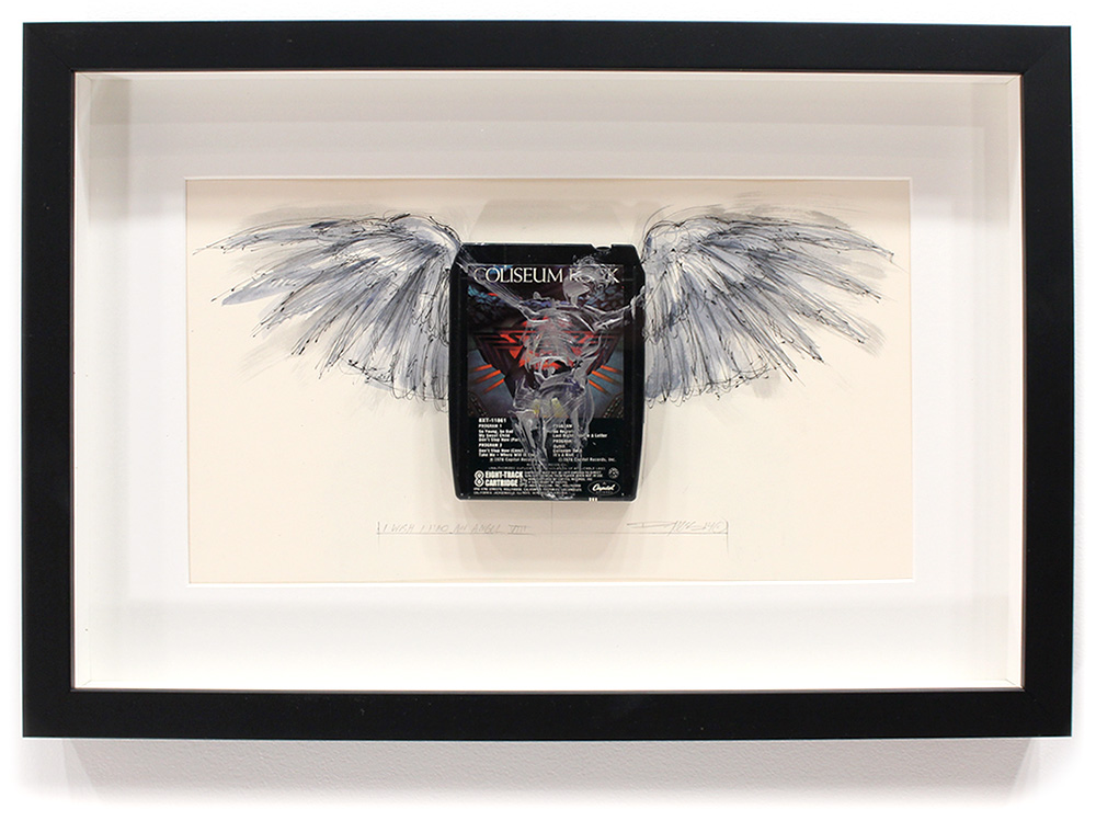 "I Wish I had an Angel VIII - Starz 'Coliseum Rock'  8-Track, Archival Paper Framed in Shadow Box 22"" x 14.5"" Framed in Shadowbox  SOLD"