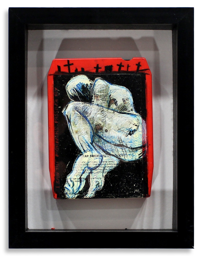 "Cheap Trick 'In Color'  Mixed Media on 8-Track 7"" x 9"" Framed in Shadowbox  SOLD"