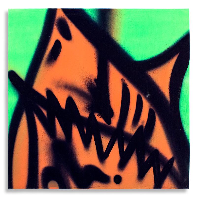 "Shark Toof Throw Up 1  Aerosol on Cradled Wood 12"" x 12""  SOLD"