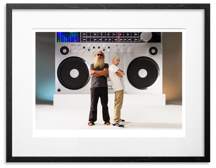 "Eminem & Rick Rubin - Berzerk   Archival Pigment Print on 300gsm Museum Grade 100% Cotton Rag   24"" x 18"" - Edition 21 -   Purchase    66"" x 44"" - Edition 10 -   Purchase"