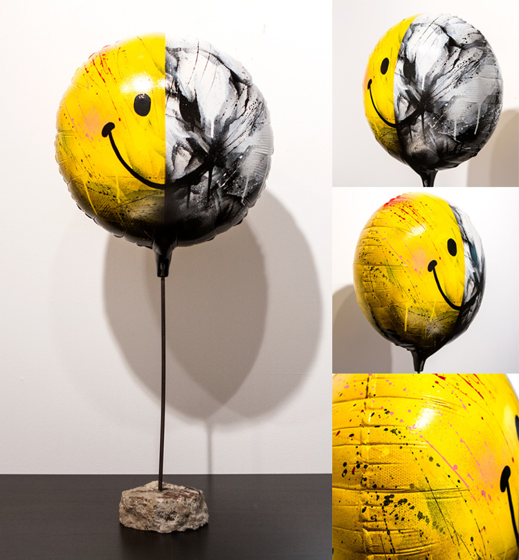 Spoiled Rotten (Life Size) - 1 Available  Balloon: 13 x 13 x 5 Inches  Height: 31 Inches -  Steel Rod, Reclaimed Concrete Base   Aerosol, Acrylic, Resin, Steel, Re-purposed Concrete   Collaborative 3D Sculpture by MEGGS x Rafael Batista  $1500
