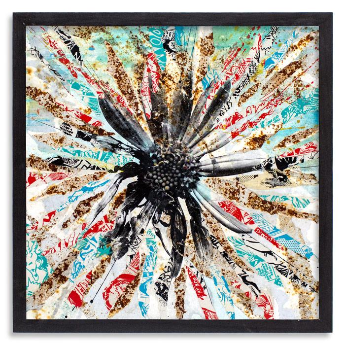 In bloom I  17.5x 17.5 x 1.5 Inches CradledWood Panel   Aerosol, Acrylic, Screen Print & Reclaimed Posters   $650
