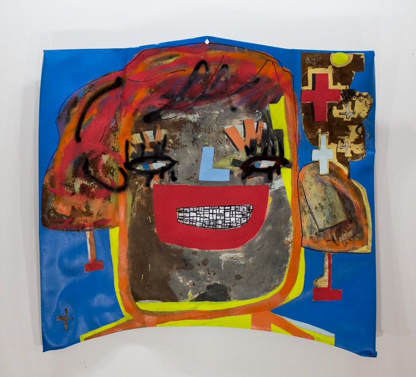 Sophia   59 x 51 x 9 Inches Mixed Media   OnReclaimed  Automobile Hood   $8000    This piece was recovered from the War Room House arson attack on the Heidelberg Project  in 2013.   Over the past 4 months Guyton painstakingly reimagined, reworked and renewed this piece.