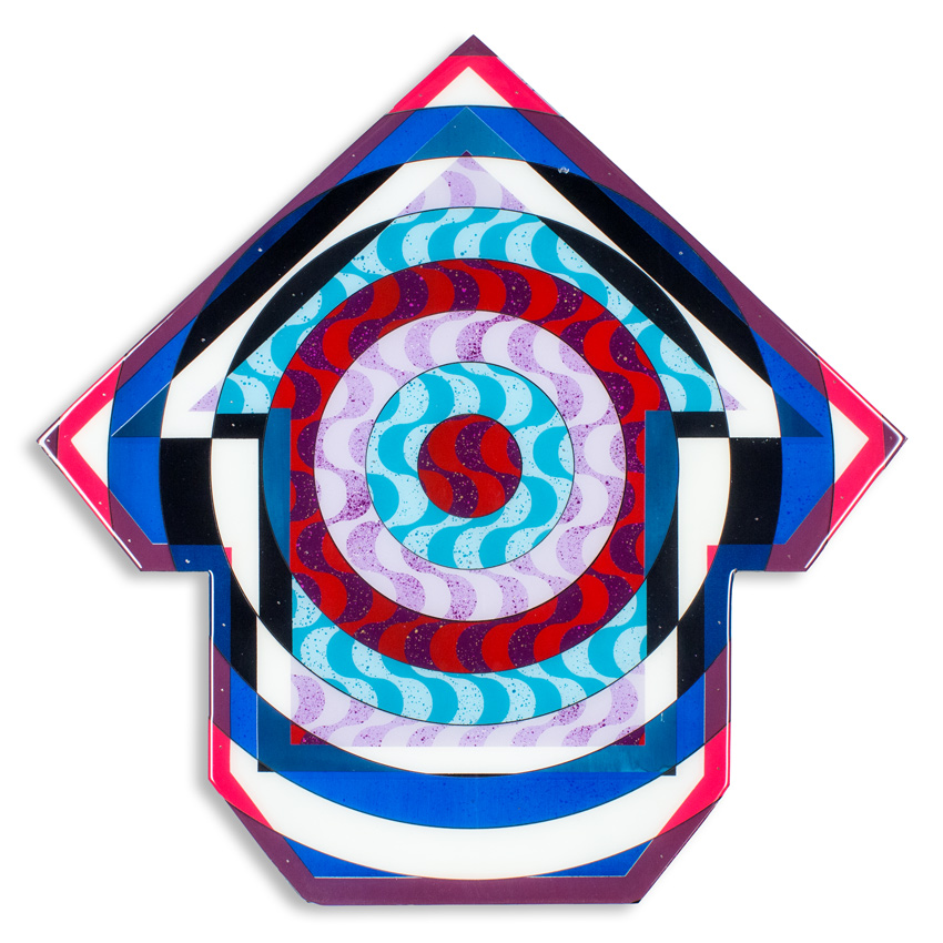 Bullseye Chicago    24 x 24 x 2.5 inches / 60 x 60 x 6 cm   Acrylic, Spray Paint & Screen Print Ink on Birch Wood Panel with Archival UV Protected Resin    $2500