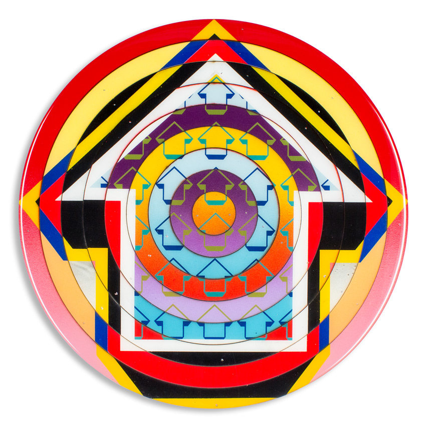 Bullseye - Lower East Side   18 x 18 x 2 inches / 45 x 45 x 5 cm   Acrylic, Spray Paint & Screen Print Ink on Birch Wood Panel with Archival UV Protected Resin     SOLD