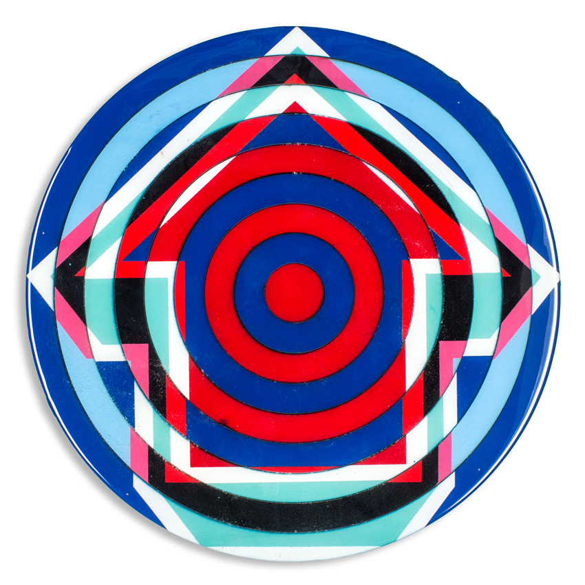 Bullseye - Madrid   18 x 18 x 2 inches / 45 x 45 x 5 cm   Acrylic, Spray Paint & Screen Print Ink on Birch Wood Panel with Archival UV Protected Resin     SOLD