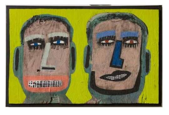 Tyree Guyton Steve and Dave - 2004  Mixed Media on Reclaimed Wood Panel  36 x 22 x 3 inches $6,500.00