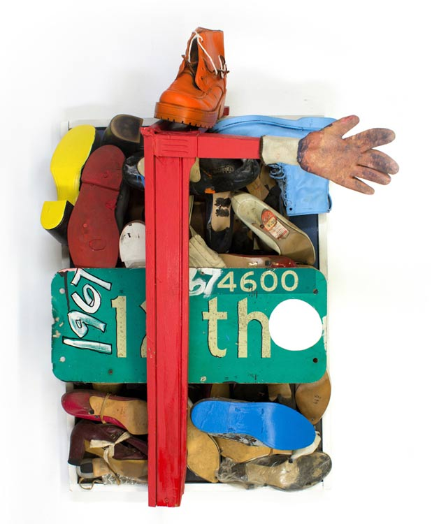 Tyree Guyton 12th Street - 1992  Mixed Media, Found Shoes, Wood, Street Sign, Glove  24.5 x 24.5 x 16 inches   Salvaged shoes from 1992 festival to pay homage to the 1967 riots in Detroit   $12,000.00