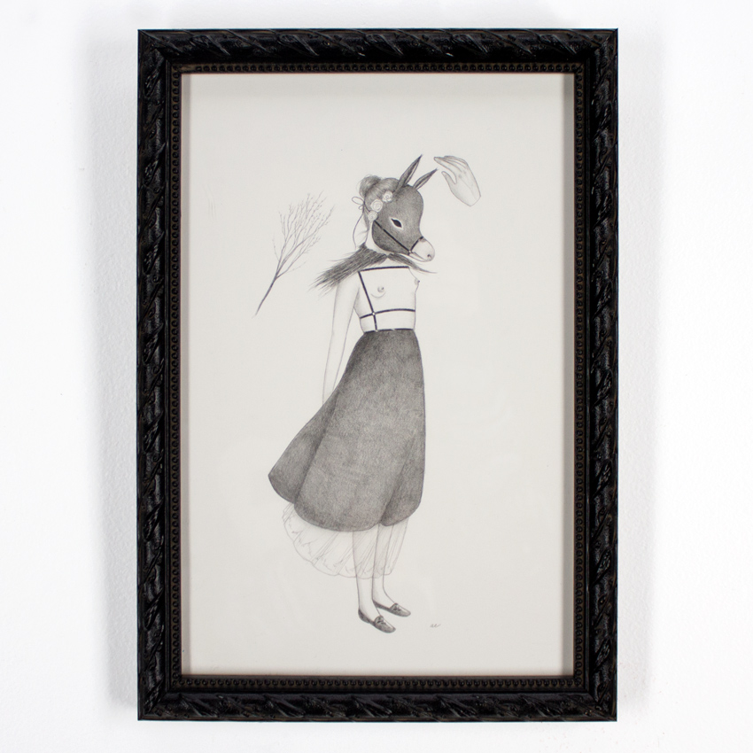 """Amy Earles     Alms     7.5"""" x 11""""   Pencil on Fine Art Paper   9 x12.5 framed      SOLD"""