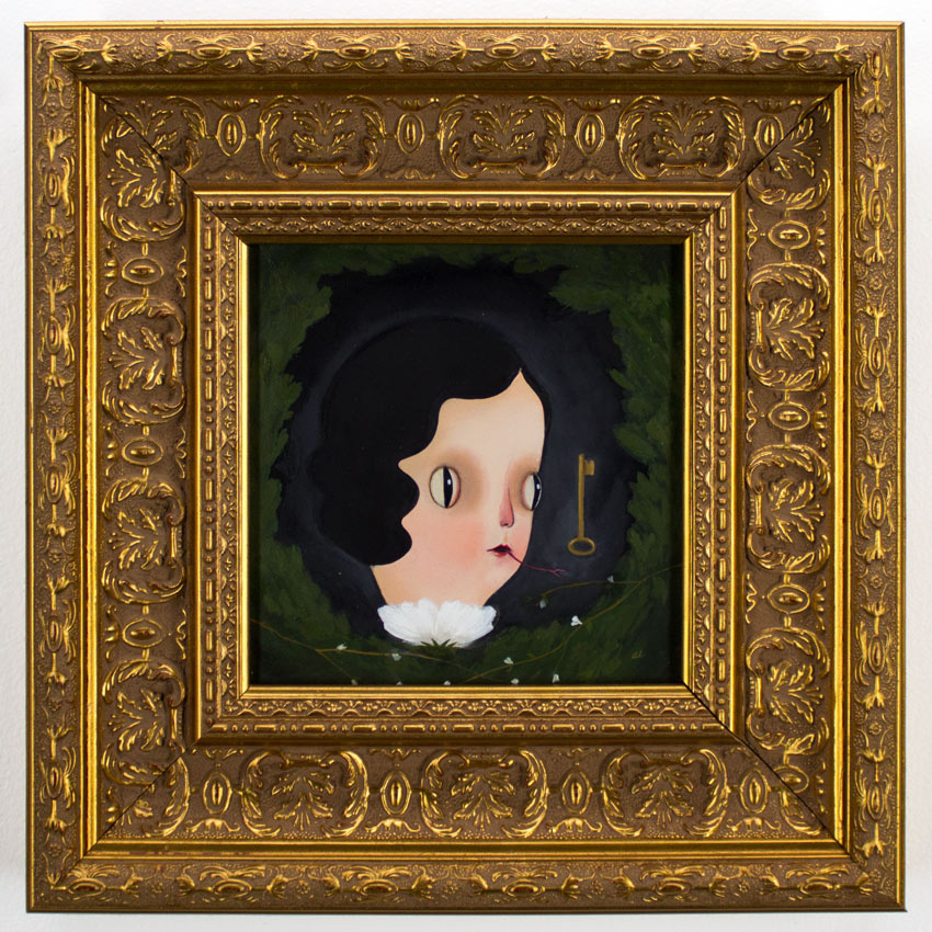"""Amy Earles     See Unseen 6"""" x 6""""   Oil on Wood Panel in Gold Ornate Fram  11x11 framed     SOLD"""