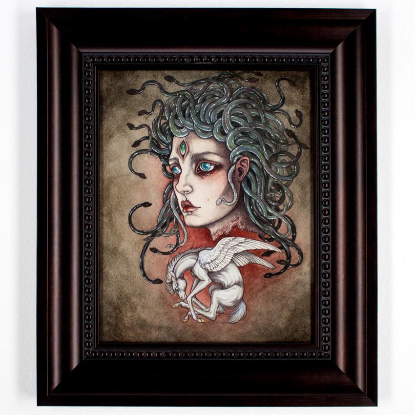 """Caitlinn Hackett     Child of Medusa     7.75"""" x 10""""    Ballpoint Pen, Watercolor on Paper       12x14 Framed     $490"""