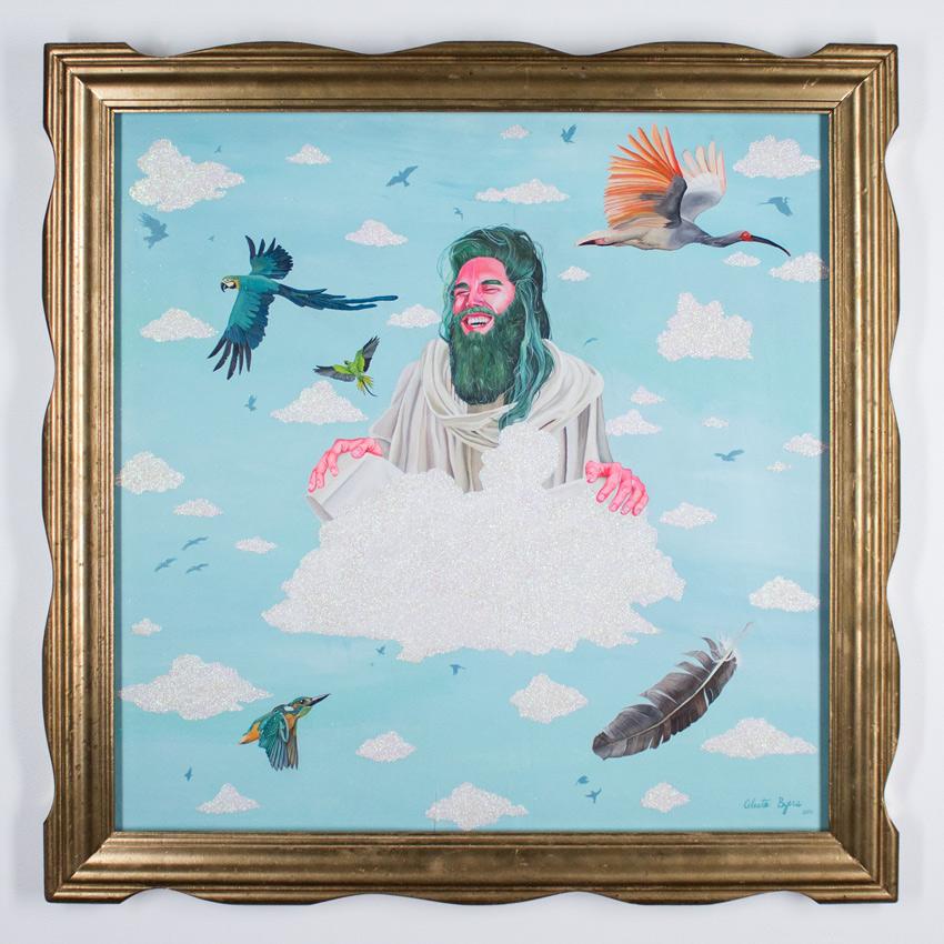 "Celeste Byers     Jesus on Cloud 9 32.5"" x 32.5""     Acrylic and Glitter on Wood Panel   33"" x 33"" x 1.25"" Framed      $4,200"