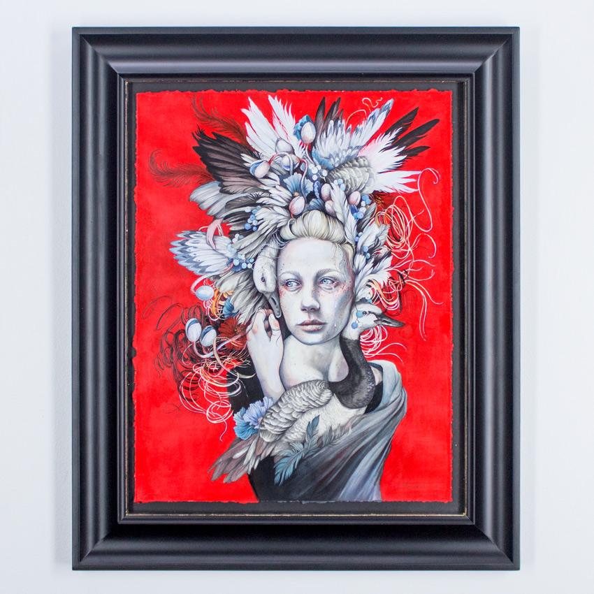 "Christina Mrozik     The Goose Girl 14.5"" x 18.5""   Ink, Acrylic, Ballpoint, Graphite on Fine Art Paper 20.5"" x 24.5"" x 1"" Framed   $2,200"
