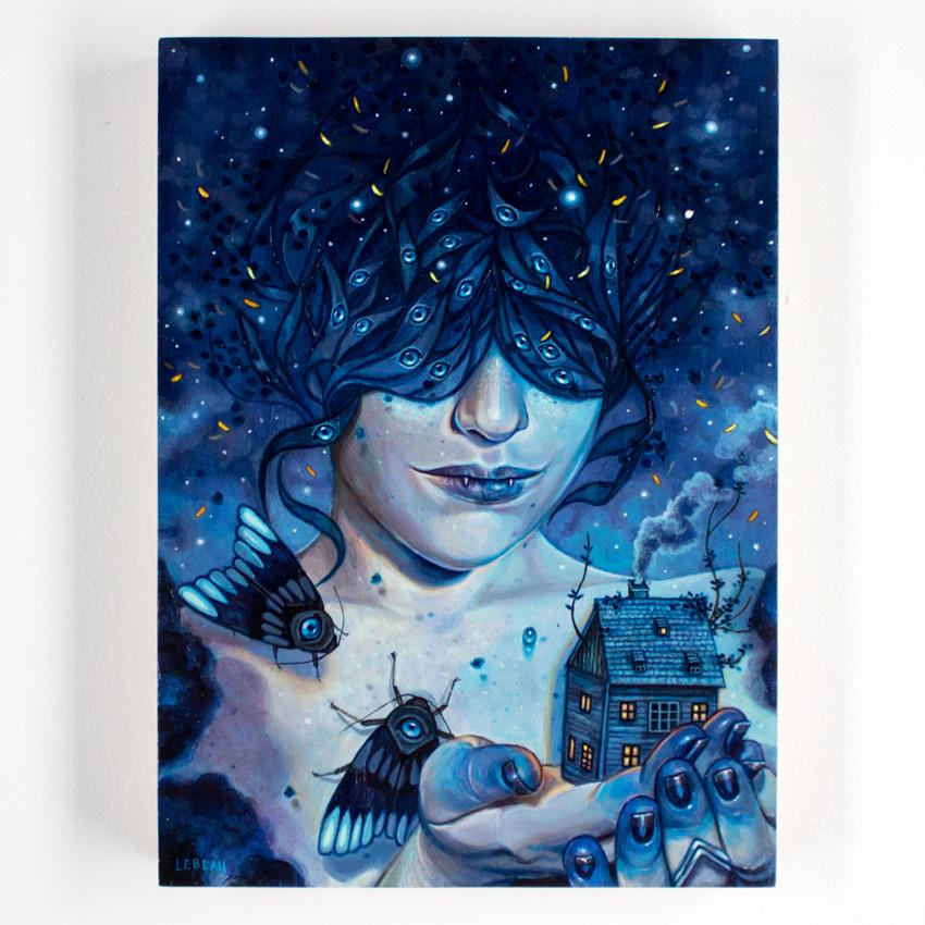 "Edith LeBeau     The Darkest Night       9"" x 12"" Acrylic on Cradled Wood Panel     SOLD"