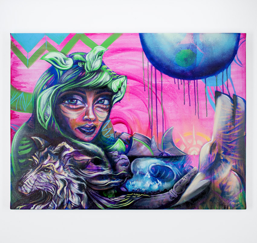 "Erin Yoshi     Riding Green in the Hood     30"" x 40"" x 2""    Acrylic Spray on Canvas     $650"