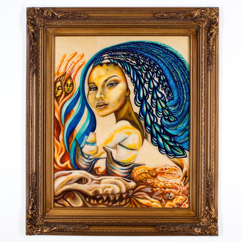 "Erin Yoshi     PocaHauntUs     16"" x 20""    Acrylic on Wood       Framed     $350"