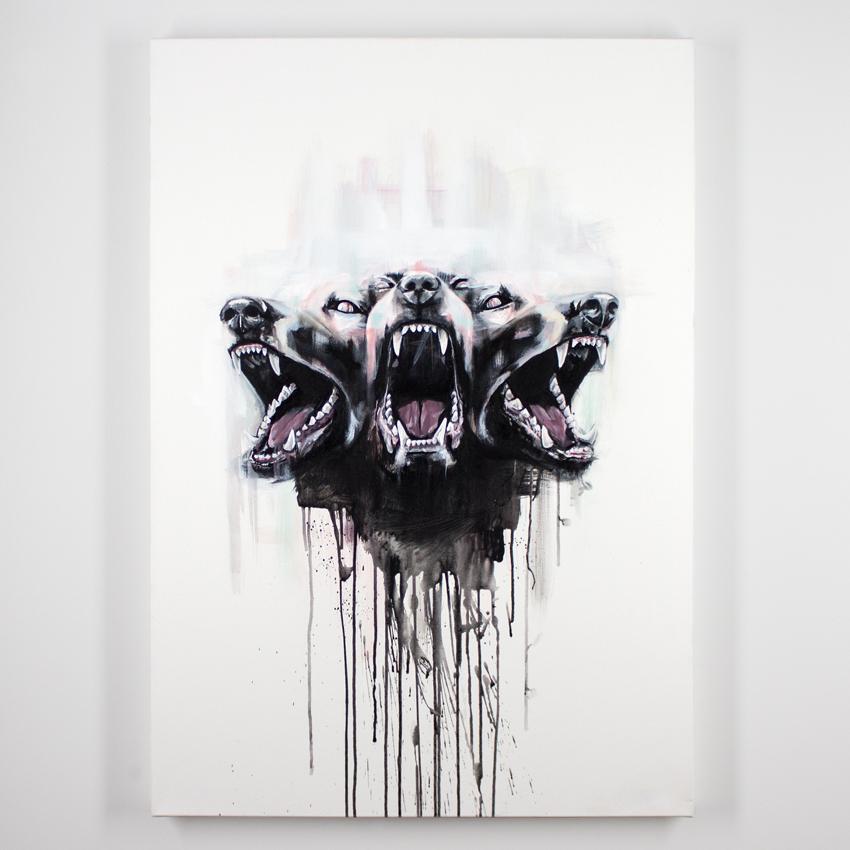 "I Met Lucy     Cerberus     31.5"" x 40""    Acrylic on Canvas     $1,250"