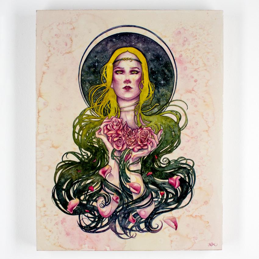 """Kelly McKernan     Endue     14"""" x 18""""    Watercolor on Cradled Wood Panel     $1,200"""
