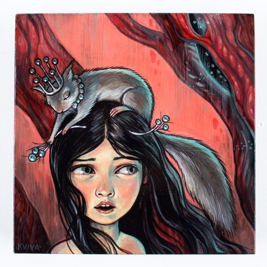 "Kelly Vivanco     The Squirrel Princess     8.75"" x 8.75"" x 1.75""    Acrylic on Panel      SOLD"