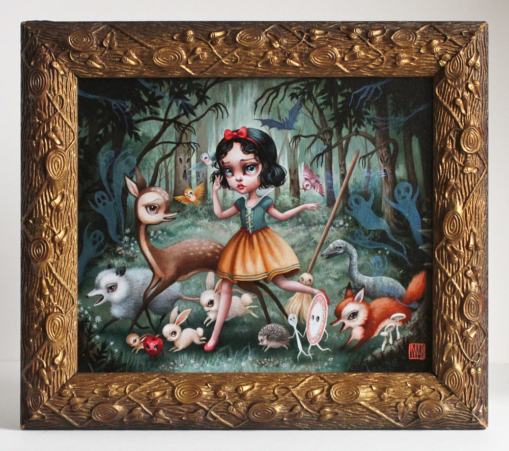 """Mab Graves     Snow White In This Black Forest     10"""" x 12""""    Mixed Media - Print, Canvas, Acrylic, Metallic Medium   13"""" x 15"""" Antique Victorian Frame   $2,200"""