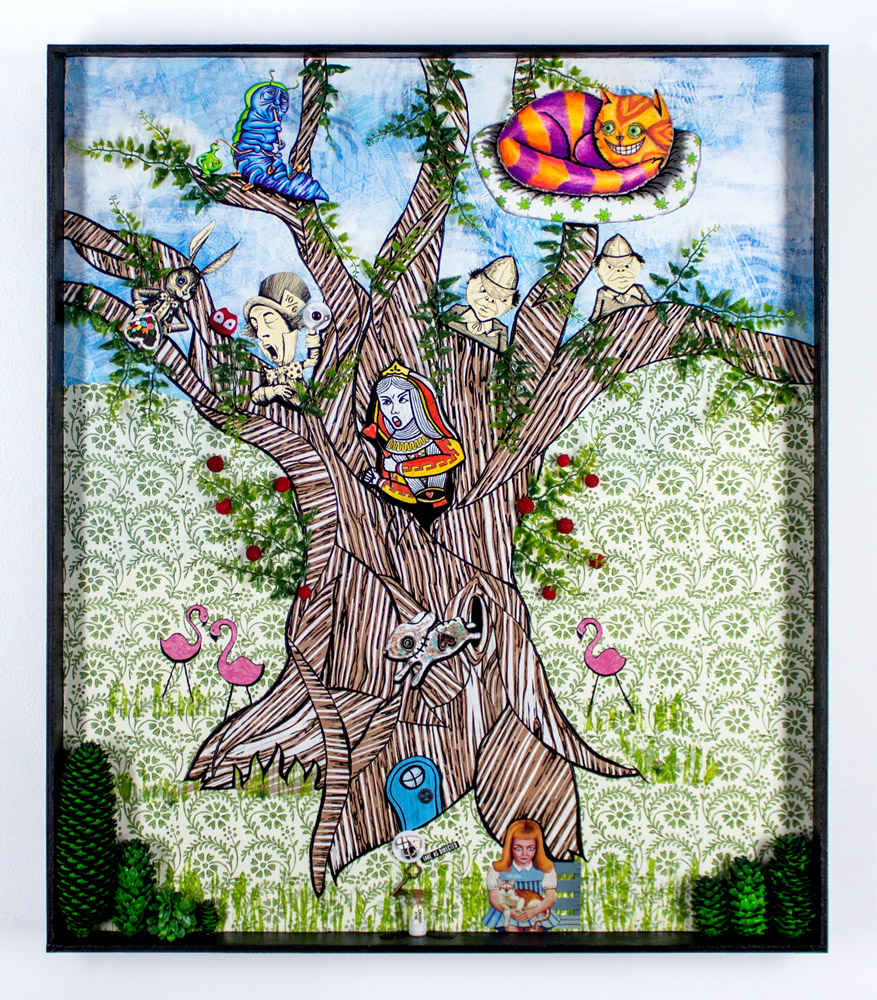 """Mary Williams     Go Ask Alice     24.5"""" x 28.25""""   Cut Paper, Colored Pencil, Pen, Found Objects   Framed     $1,500"""