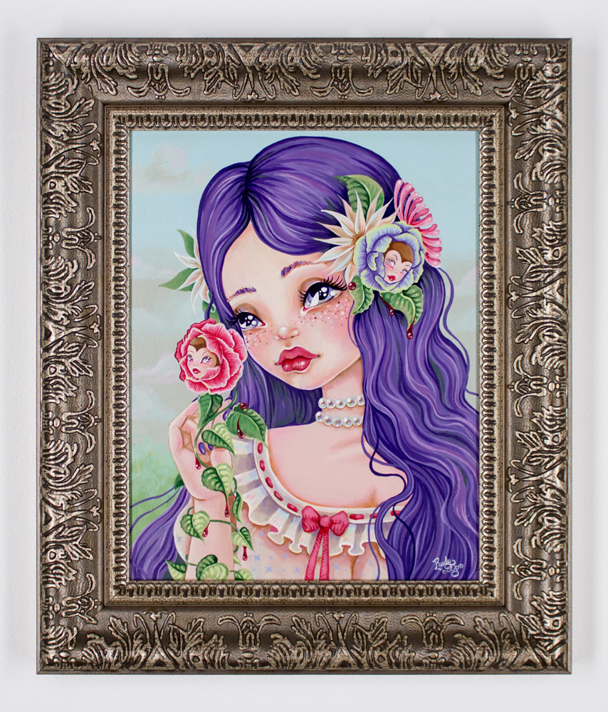 """Rudy Fig     Mary Mary Quite Contrary     11"""" x 14""""   Oil on Panel   16"""" x 19"""" x 1.5"""" Framed     $650"""