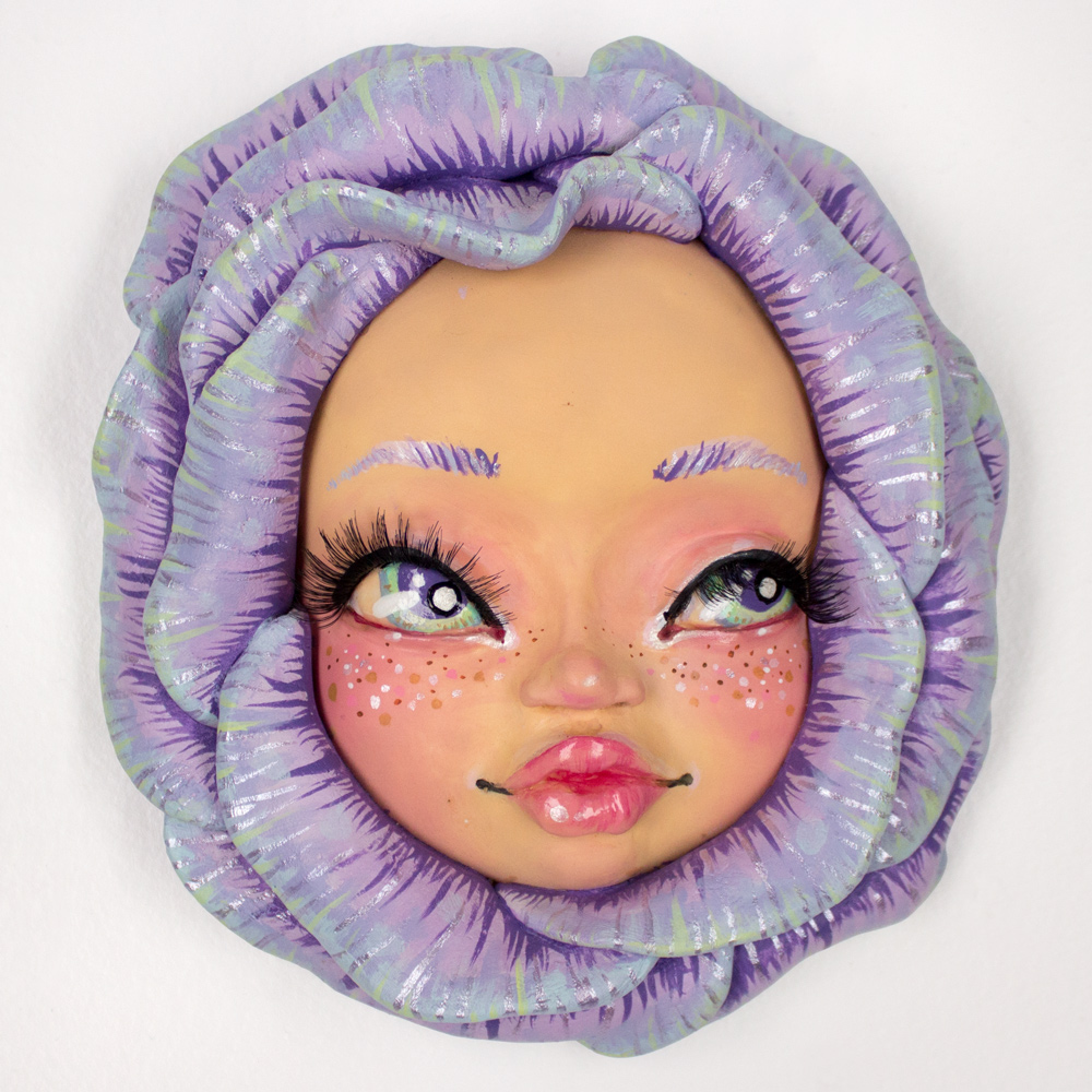 """Rudy Fig     Wall Flower (Purple)     6"""" x 7.5"""" x 1.75""""   Sculpture, Resin, Clay   7 in. Round     $260"""