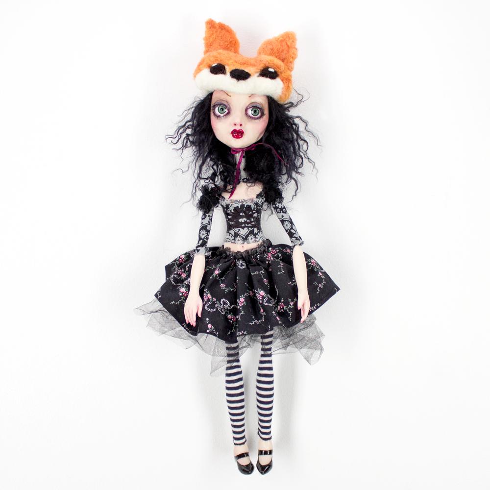 "Sheri Debow     Little Fox Sister     19"" x 10"" x 3""        Handmade Doll, Polymer Clay, Acrylic, New and Vintage Fabrics     $695"