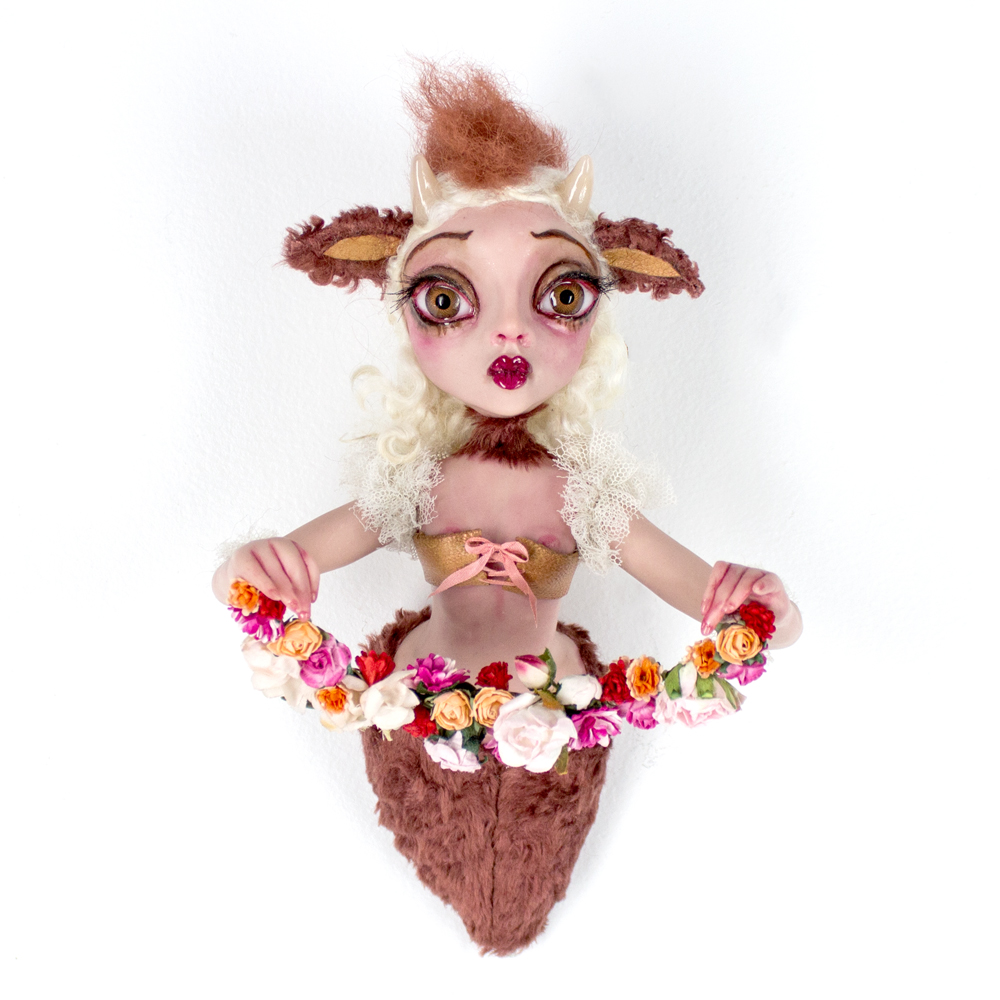"""Sheri Debow     Miss Tumnus of Spring     25"""" x 11"""" x 4""""     Handmade Doll, Polymer Clay, Acrylic, New and Vintage Fabrics      SOLD"""
