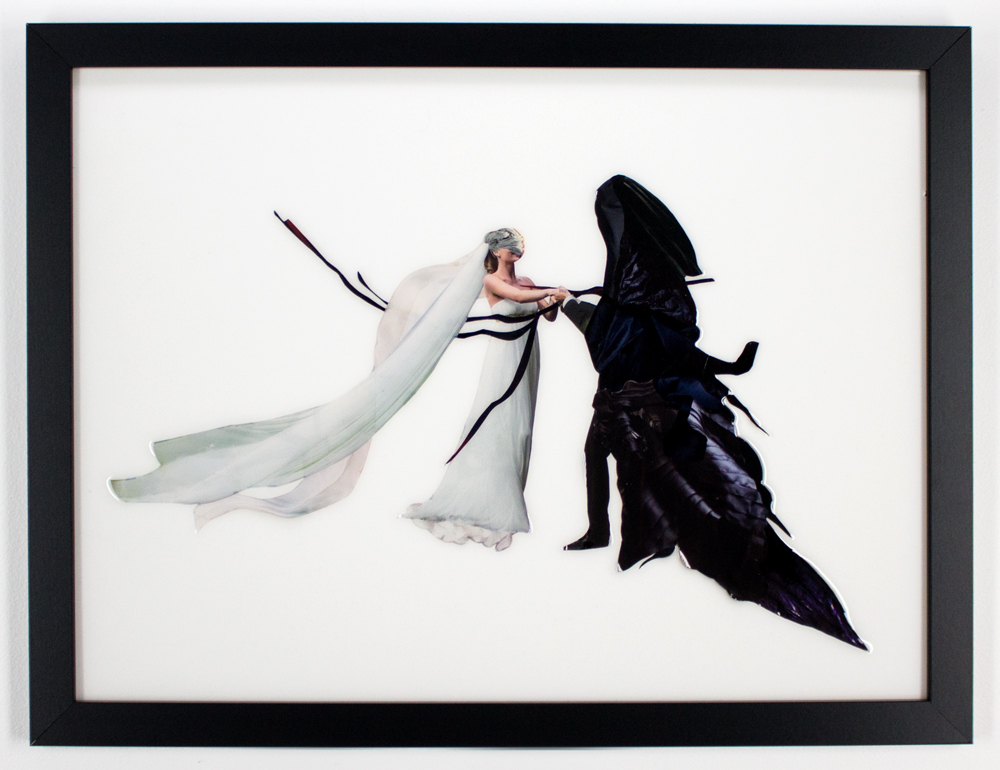 """Sienna Freeman     Bride to Be 1. 26"""" x 20""""   Found Images, Plastic Resin   Framed     $600"""