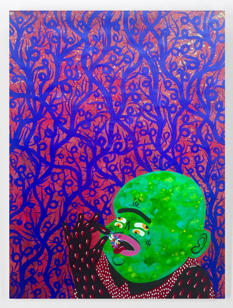 """Kashink     Best Snack Ever     24"""" x 36"""" x.5""""    Spraypaint and acrylic on canvas     $950"""
