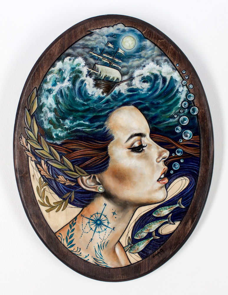 """Wendy Ortiz     Lost at Sea     12"""" x 18""""    Mixed Media(color pencil, acrylic and oil) on Wood Panel     $1,200"""