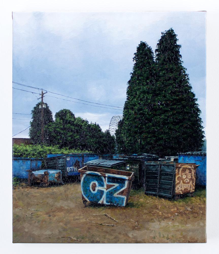 """Stephanie Buer     Dumpster Ape     17"""" x 20""""    Oil on Canvas     $1,700"""