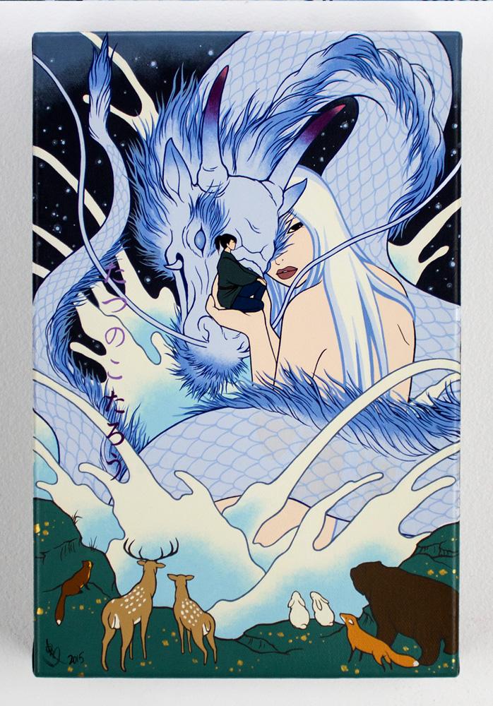 "Yumiko Kayukawa     Tatsunoko Taro - Taro the Dragon Boy     8"" x 12""    Acrylic on Canvas     $1,800"