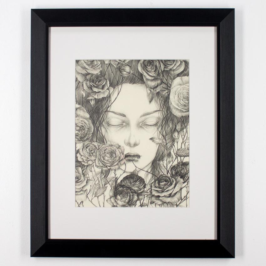 """Liza Corbett     Briar Rose     11"""" x 14""""   Graphite and Colored Pencilon Paper   Framed     $500"""