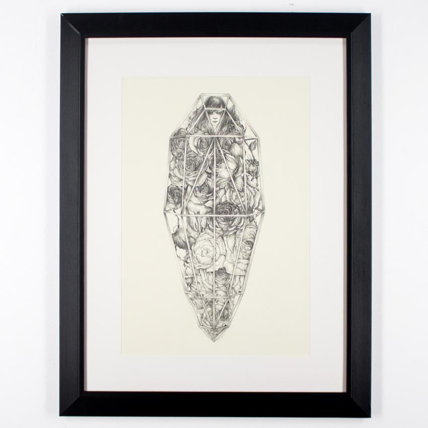 "Liza Corbett     Sleeping Beauty     13"" x 19""   Graphite on Paper   Framed      SOLD"